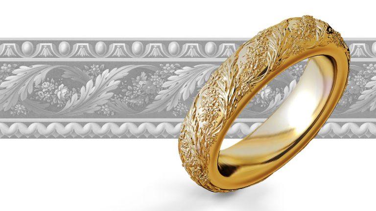 Die Ornamentik des hinteren Bildes wurde auf den Schmuckring übertragen. Sie liefern uns eine Skizze, wir übertragen diese auf Ihren Ring.