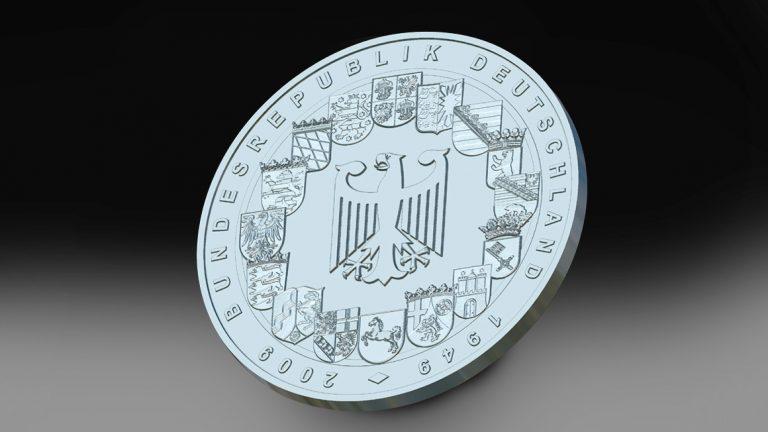 Eine von uns entworfene Gedenkmünze. Nach Entwürfen oder Bildern modellieren wir Ihre eigene Münze.
