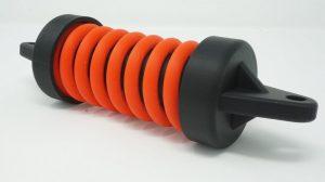 3D Druck eines selbstkonstruierten Stoßdämpfers. Voll funktionsfähig. ABS Kunststoff